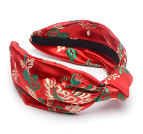 Red Satin embroidered headband