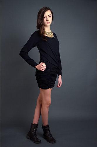 Black stretchy gathered dress