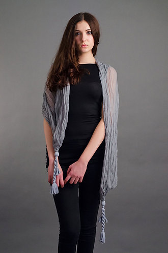 Grey scarf with large tassel ends