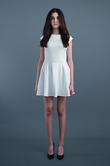 White cap sleeve skater dress