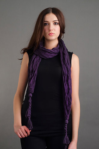 Purple scarf with large tassel ends