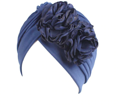 Navy floral turban