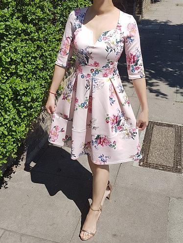 Royal Blossom long sleeve skater dress