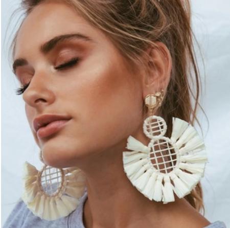 Large white round tassel earrings
