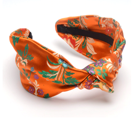 Orange oriental style turban headband