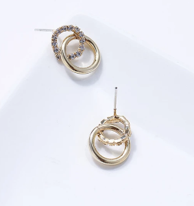 Minimalists tiny gold tone and diamonte hoops