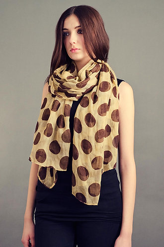 Cream scarf with large brown polka dots