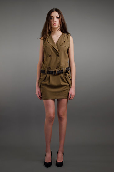 Military green sleeveless dress