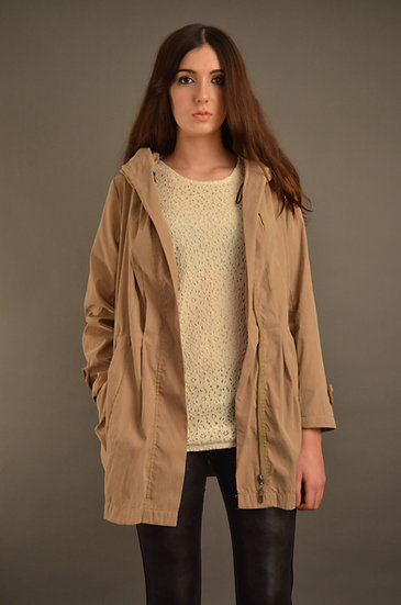 Beige hooded lightweight jacket