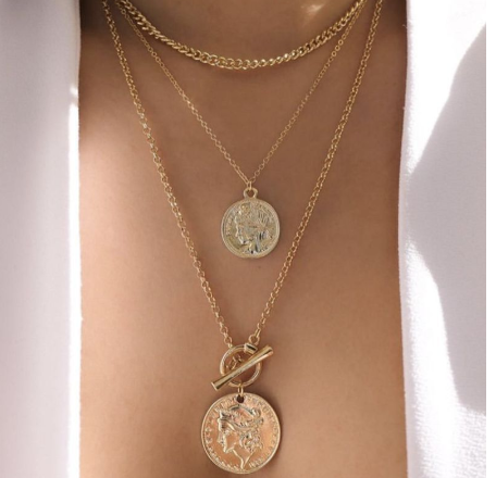 Multi layer gold coin necklace