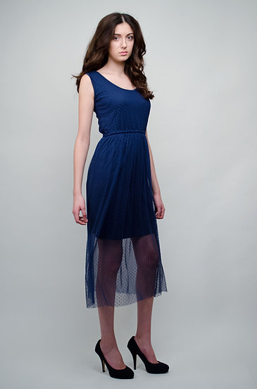 Navy blue double layered dress