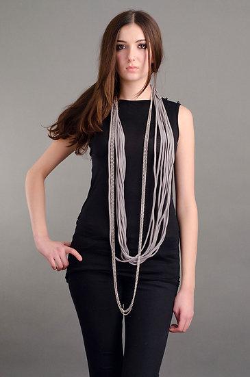 Grey scarf necklace