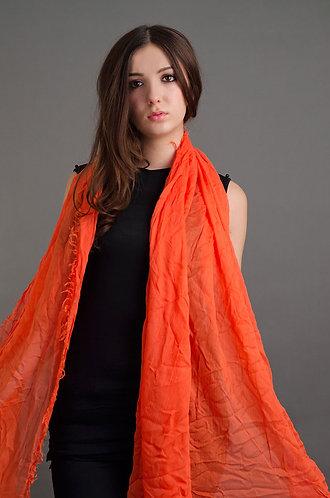 Orange fringed scarf