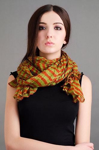 Lime green and orange scarf