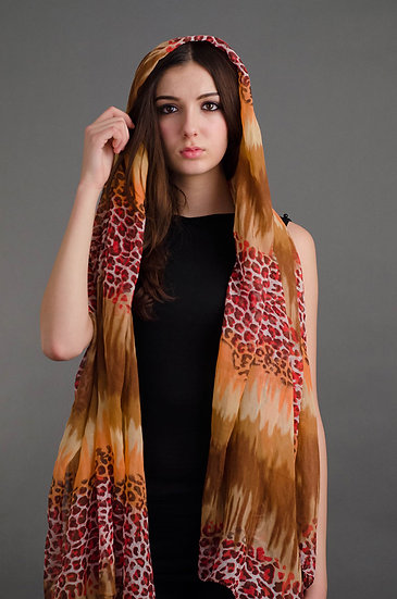Brown and red toned leopard print scarf