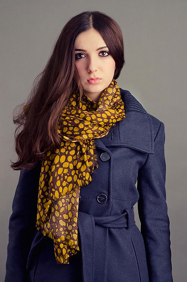 Yellow and brown spotted scarf