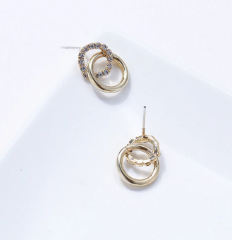 Double hoop gold tone and diamante earrings