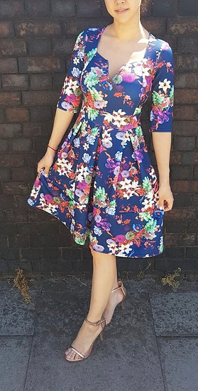 Gorgeous blue floral skater dress