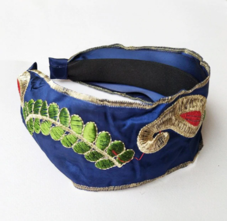 Blue embroidered headband