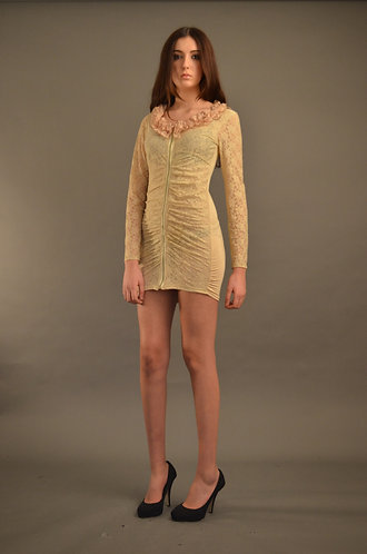 Cream lace dress with zip front