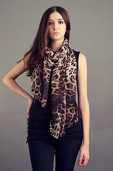 Leopard print lightweight scarf