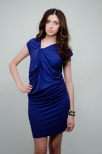 Navy dress with bunched detail