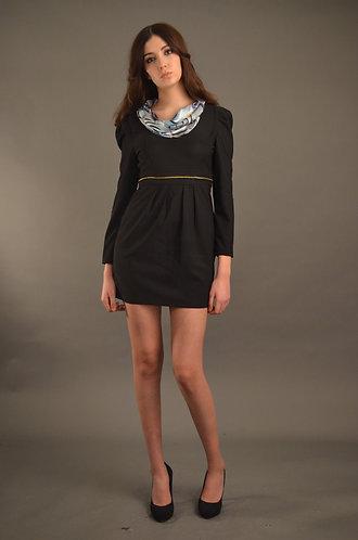 Black dress with scarf neck