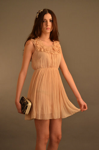 Nude pleated dress