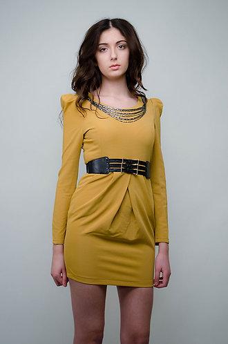 Mustard dress with waist belt