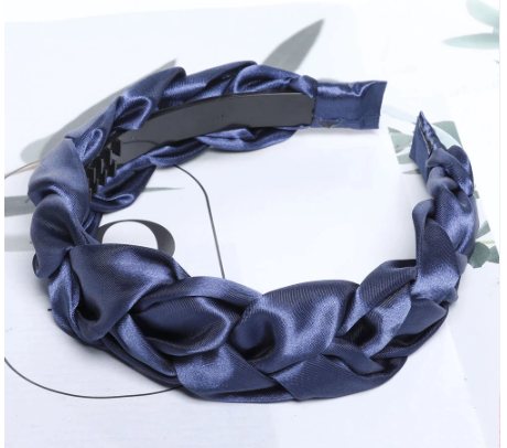 Blue satin plait headband