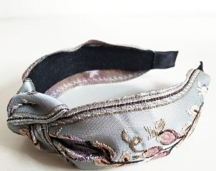 Light blue embroidered headband