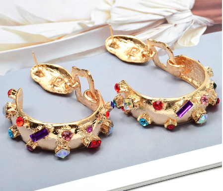 Gold hoops with multi-coloured stones
