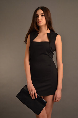 Black sleeveless bodycon dress