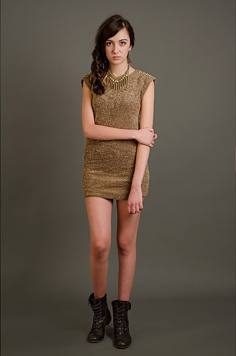 Woolen dress with studded shoulders