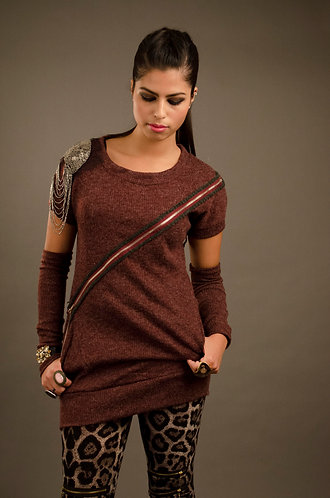 Marron top with detachable sleeves