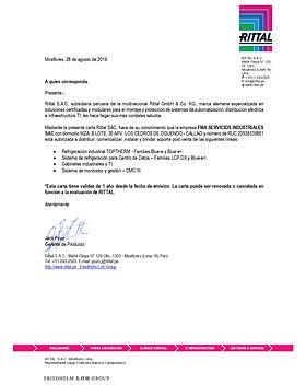 FMA Servicios Industriales Certificado Oficial RITTAL