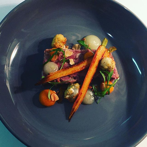 Smoked ham hock terrine,apple sauce,carrot purée,roasted baby carrot & cauliflower,toasted almonds