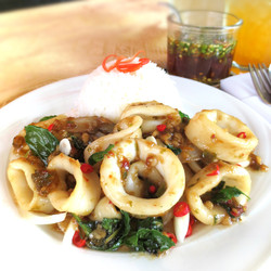 P1 Stir-Fried Spicy Basil with Squid