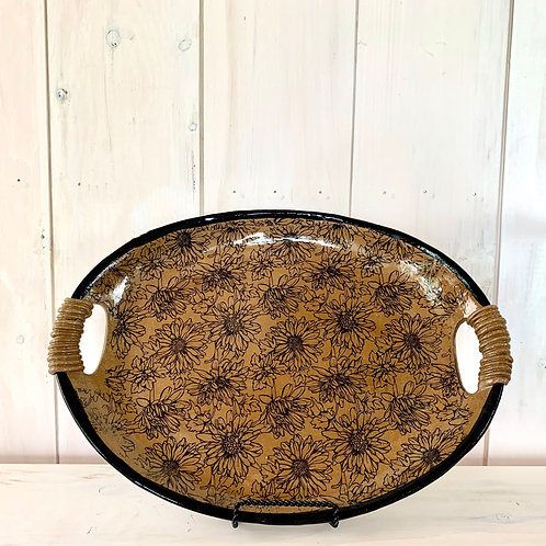 Platter - Oval with wrapped handle details.