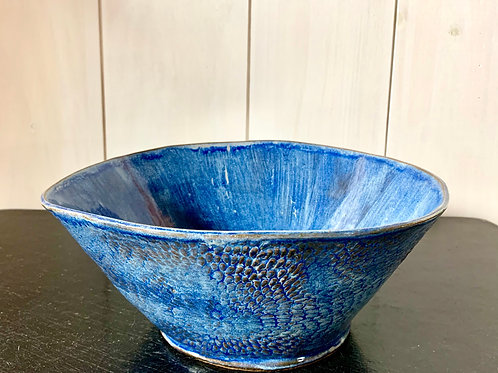 Bowl - Large faded blue serving piece ready for a fresh salad.