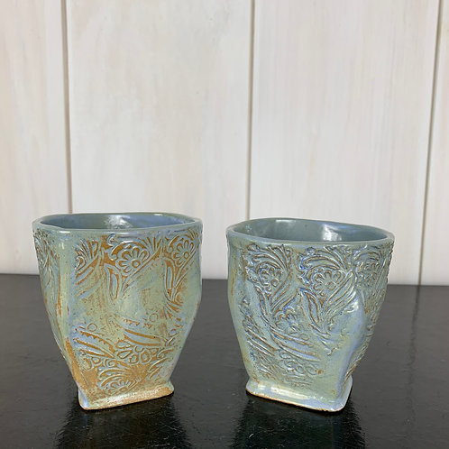 Cups - Shabby Chic wine/tea  (set of 2).