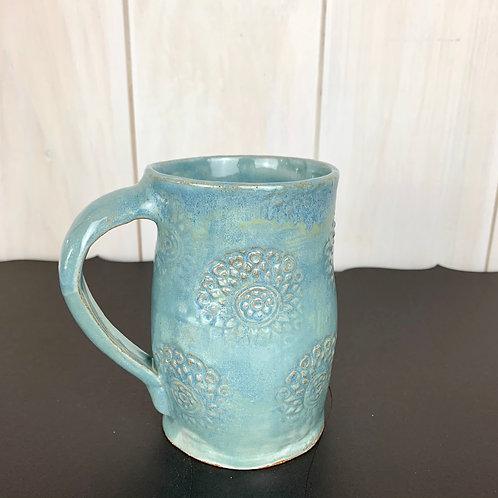 Mug tall soft blue with medallion design