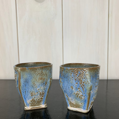 Cups - Blue textured wine/tea (set of 2).