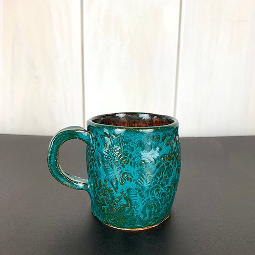 Mug small but bold turquoise & copper