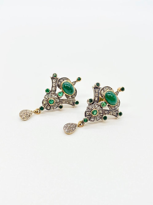Deco Emerald and Diamond Earrings