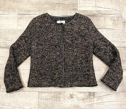 Hartford Leather Trim Knit Jacket