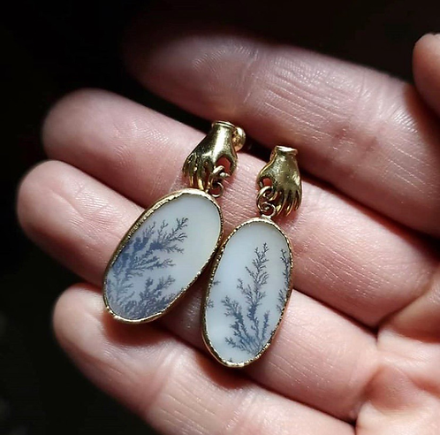 Acanthus Dendritic Agate Hand Earrings