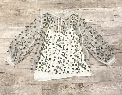 Sequin Sheer Floral Blouse
