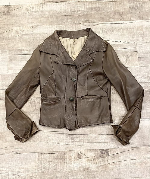 Blur Distressed Leather Jacket