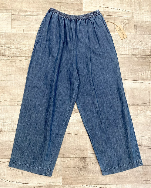 Eskandar Denim Wide Leg Pants